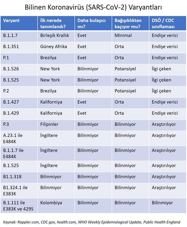 bilinen koronavirüs varyantları dsö ve cdc sınıflaması