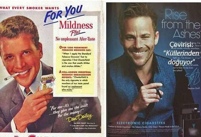 eski ve yeni sigara reklamlarinin dikkat ceken sasirtici benzerlikleri