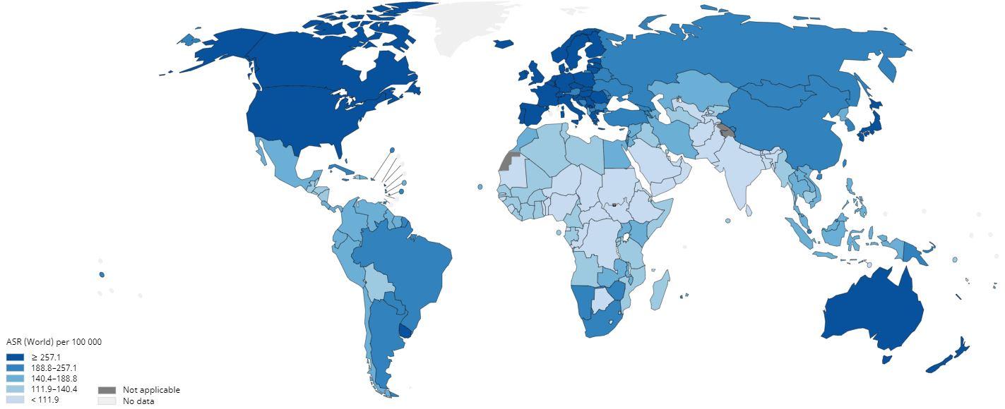 kanser sıklığı dünya haritası 2020