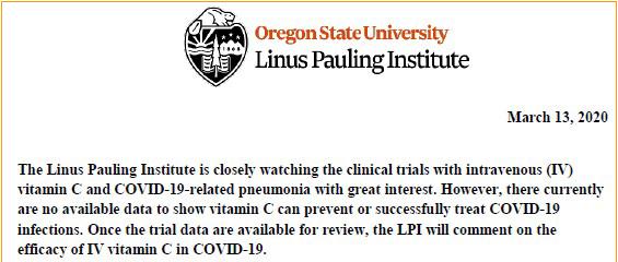 linus pauling enstitüsü koronavirus covid 19 tedavisinde vitamin c hakkında görüşü
