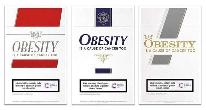 sigara paketlerine benzer obezite uyarısı içeren reklam panoları hazırladı