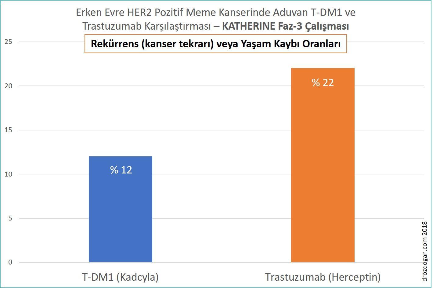 t dm1 kadcyla ve trastuzumab herceptin adjuvan tedavi karşılaştırması katherine rekürrens vey
