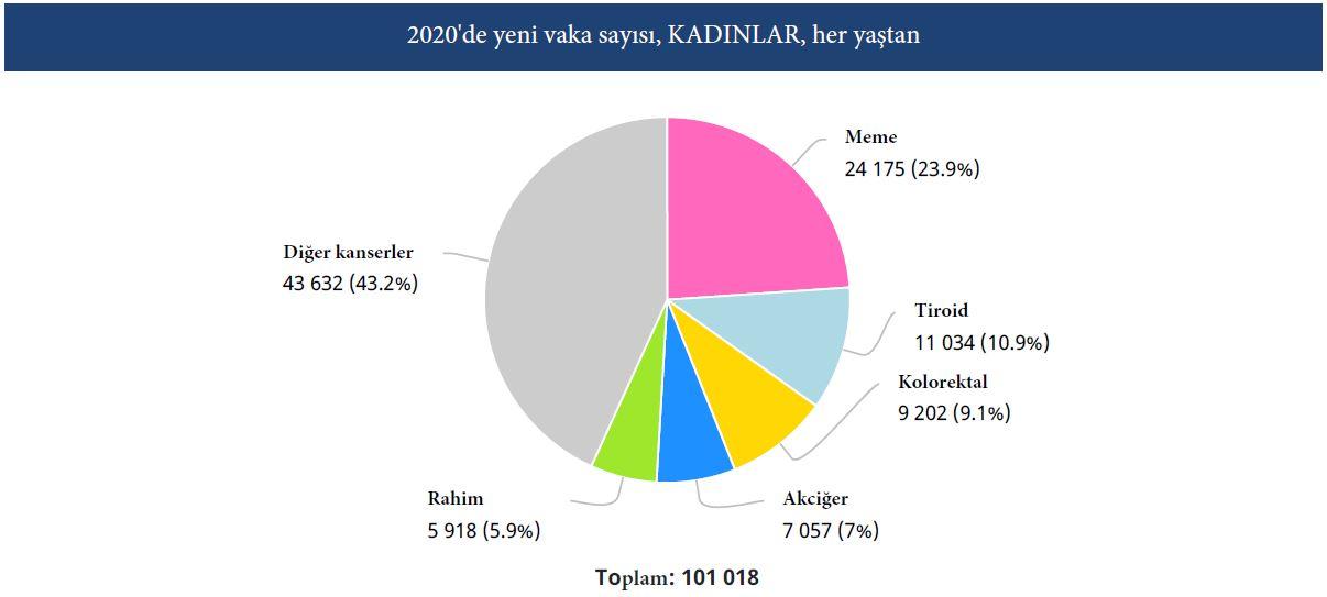türkiye 2020 istatistik kadınlarda en sık görülen ilk 5 kanser türü
