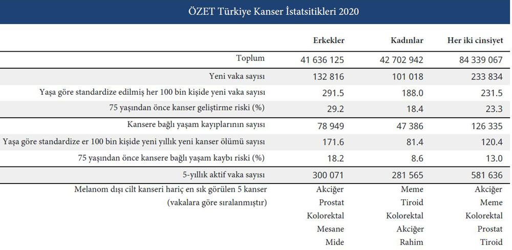 türkiye 2020 kanser istatistikleri özet